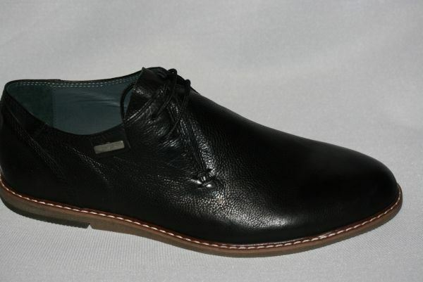Echtleder Herrenschuhe schwarz matt  bequeme Schuhe HA8816