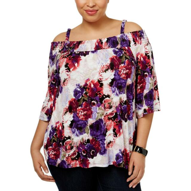 71c208bed30 INC Womens Fantasia Floral Cold Shoulder Bell Sleeve Blouse Top Plus BHFO  8769