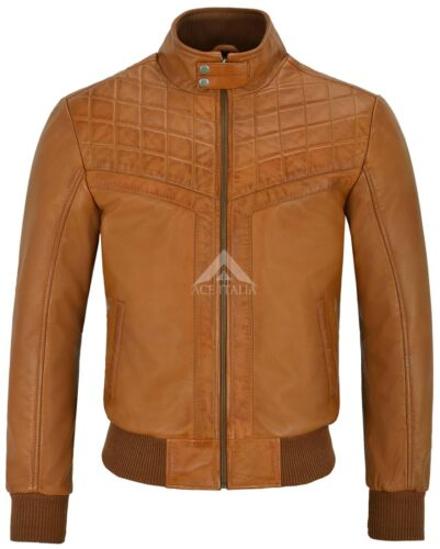 Men/'s 70/'s Leather Jacket Tan Quilted Retro Bomber Style Lambskin Leather 4757