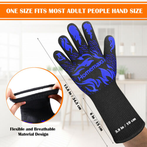 1Pair 800℃ Heat Resistant Oven Gloves Silicone Kitchen Cooking Grill BBQ Mitts
