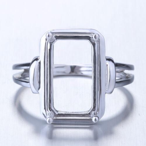 Cushion Emerald Radiant 13x10mm Semi Mount Ring Setting 10k White Gold Jewelry