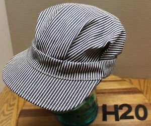 6917b71d8b8 Image is loading VINTAGE-TRAIN-ENGINEER-STYLE-HAT-BLUE-WHITE-PINSTRIPES-