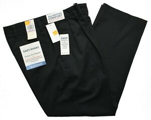 Dockers-9843-NEW-Men-039-s-Black-Pleated-Classic-Fit-Easy-Khaki-Stretch-Pants
