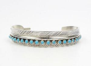 Sterling Silver Turquoise Feather Bracelet