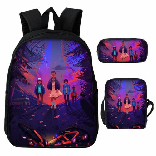 Stranger Things3pcs//Set Backpack Student Schoolbag Pencil Case Lunch Bag