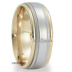 Image Is Loading 10K TWO TONE GOLD MENS WEDDING BANDS WHITE