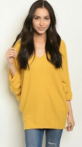 NWT-Large-Women-s-Mustard-Top-Blouse-Dolman-Shirt-Boutique-US-Made
