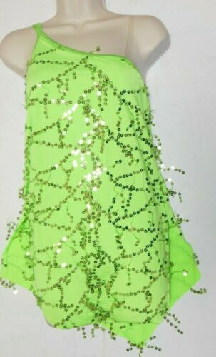 LATIN BALLROOM SALSA SEQUIN DROP DRESS 1 SHOULDER DACE JAZZ CH//AD Hot Lime