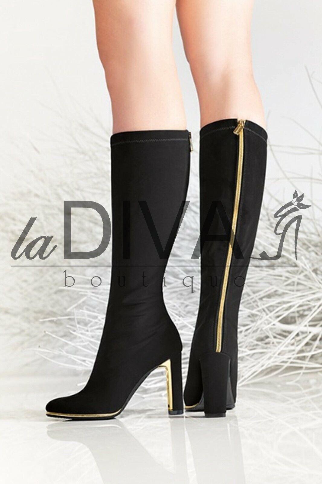 NILA & NILA  Stretch Stiefel 37 schwarz Zipper Leder Stiefel %SALE% OVP