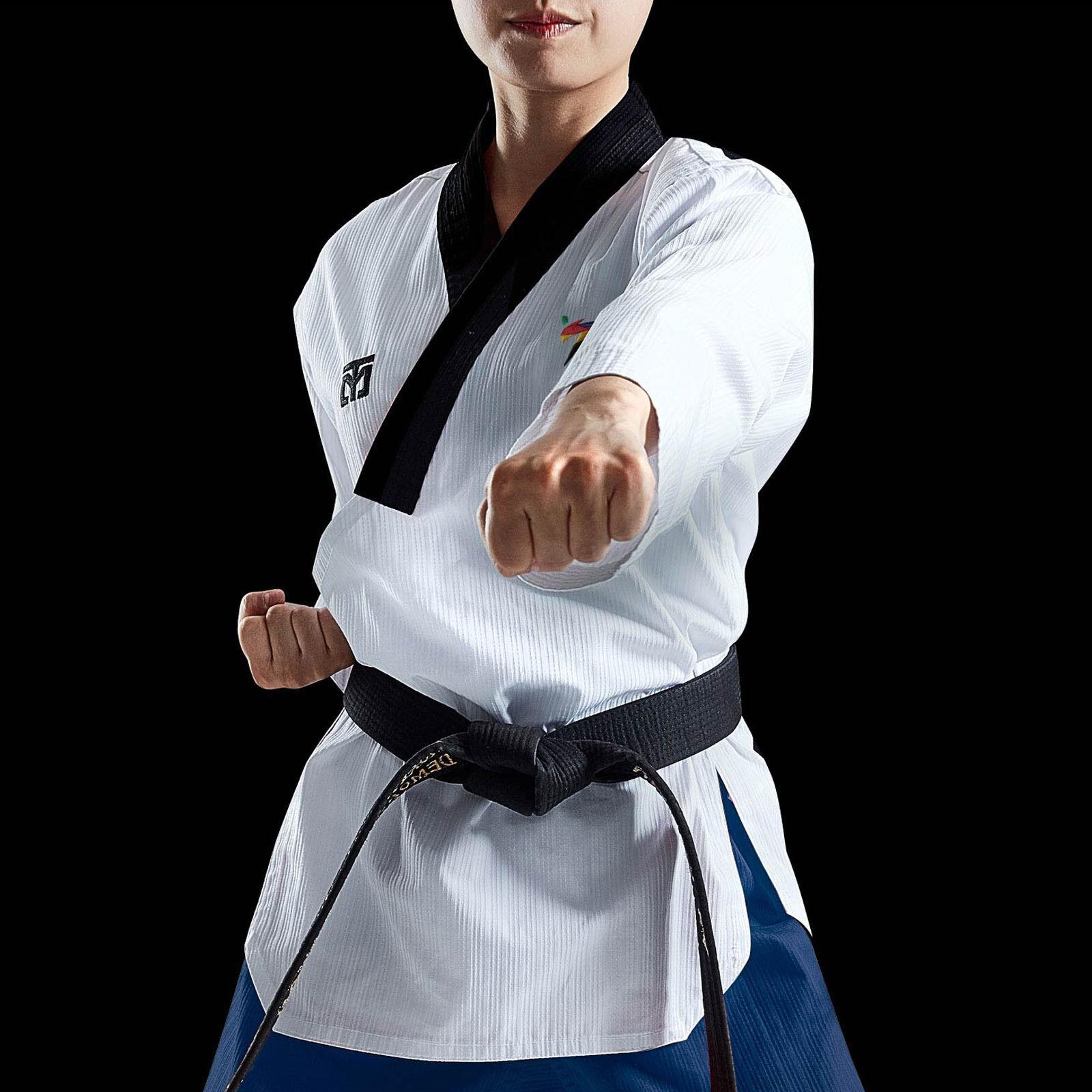 Professionelle Poomsae UniforSie Mooto Taebak weißliche Dan Holder Neue Anzüge WT Logo
