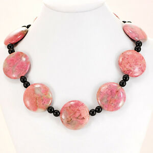 Pink-Rhodonite-amp-Black-Onyx-Necklace-with-Silver-Tone-Toggle-19-5-034-FREE-SHIPPING