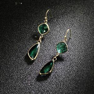 Boucles-d-039-oreilles-Art-Deco-Diamentine-Goutte-Cristal-Vert-Facetee-Retro-DD12