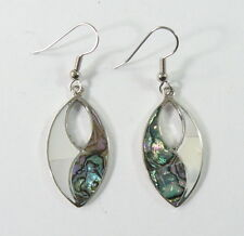 Alpaca silver earrings with shell inlay and surgical steel ear wires