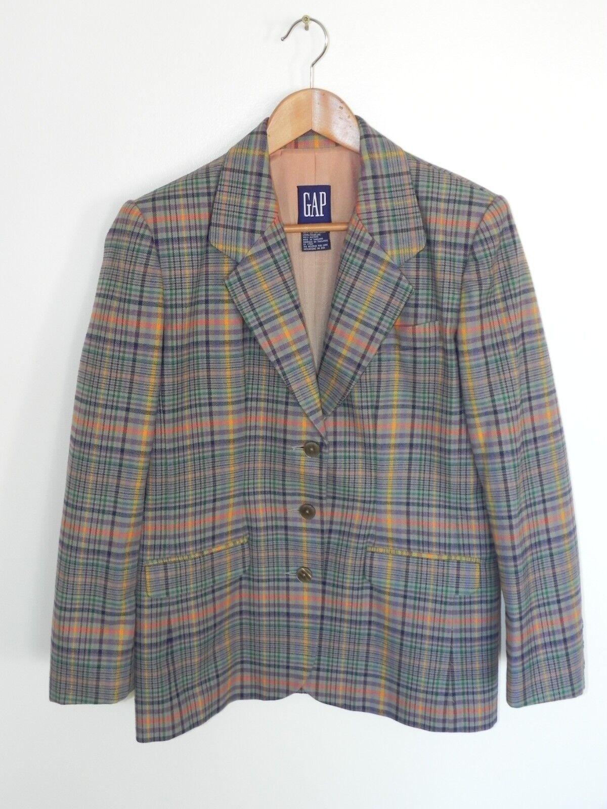100% Cotton Plaid Blazer Suit Coat Purple Yellow orange Green Grey Women Medium