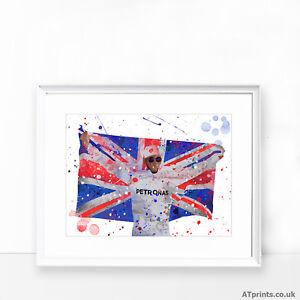 Lewis Hamilton Imprimé Poster Aquarelle Encadrée Toile Wall Art Art F1 Formule 1  </span>