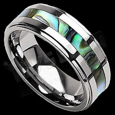 Silver Tungsten Carbide Abalone Shell Inlay Wedding Band Bridal Womens MENS Ring