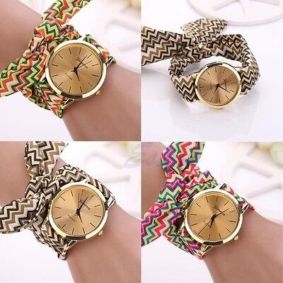 Womens Geneva Wave Cloth Band Quartz Analog Dress Tie Belt Bracelet Wrist Watch