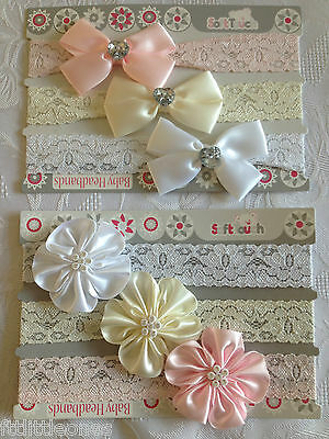 BABY GIRLS LACE HEADBANDS,BOW/FLOWER ROSETTE/DIAMANTE,CHRISTENING/WEDDING 3 PACK
