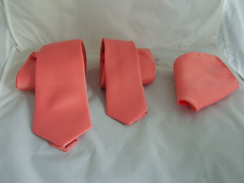 """Coral-Salmon Polyester Mens Tie /& Hanky/>Classic/>3.3/"""" OR Skinny /> 2.5/"""" OR Bow tie"""