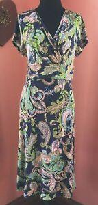 Women-s-Talbots-Stretch-Blue-Paisley-Print-Crossover-Dress-Size-M-Medium-Petite