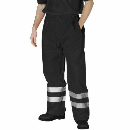 Men Hi Viz Waterproof Rain Over Trouser Elasticated Visibility Safety Work Pants