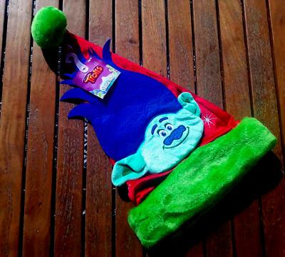 Details about  /DreamWorks Trolls Movie Santa Hat Blue Troll Pom Pom New NWT Fits Adult S M