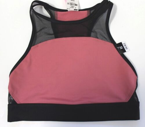Victoria/'s Secret PINK Mesh High Neck Sports Bra Racerback Soft Begonia Black XS