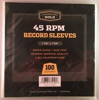 Pack / 100 Cbg 45 Rpm Record Acid Free Archival 2-mil Poly Sleeves 7 3/8 X 7 5/8