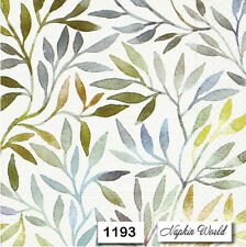 (1193) TWO Individual Paper Luncheon Decoupage Napkins - LEAVES PATTERN MUTED