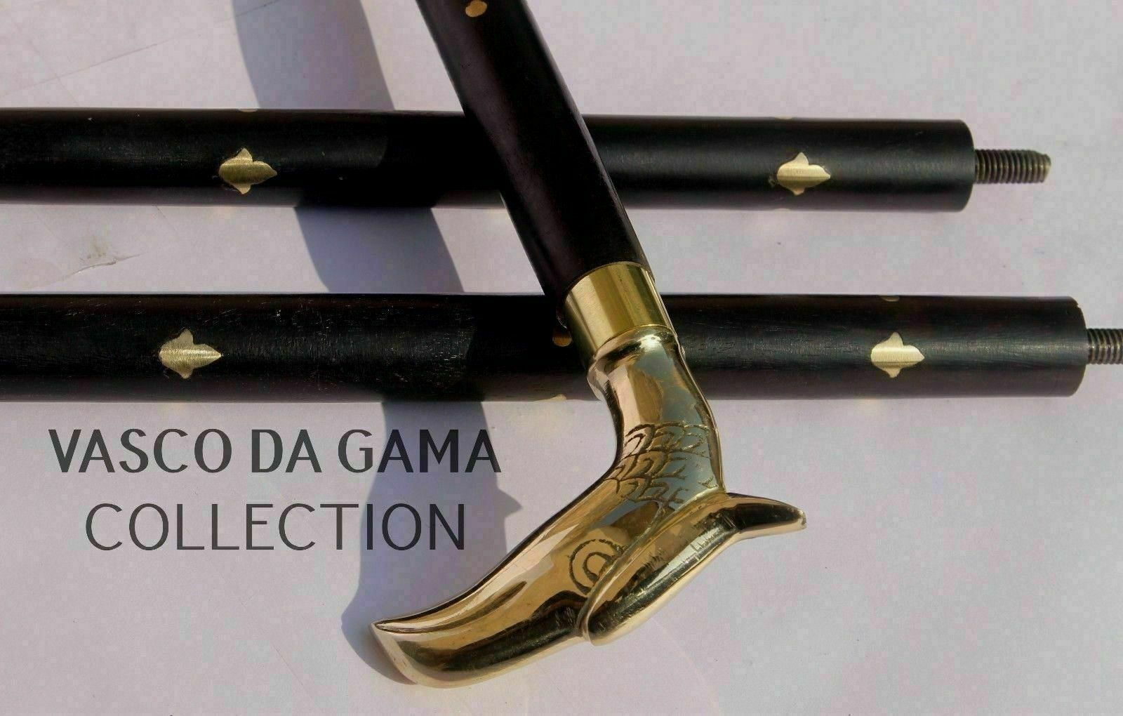 Details about  /Vintage Nautical Collectible Brass EAGLE Handle Brown Wooden Walking Stick Cane