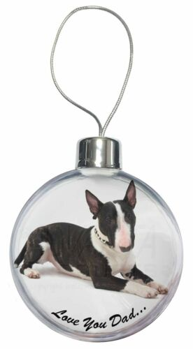 DAD-16CB Bull Terrier Dog /'Love You Dad/' Christmas Tree Bauble Decoration Gift