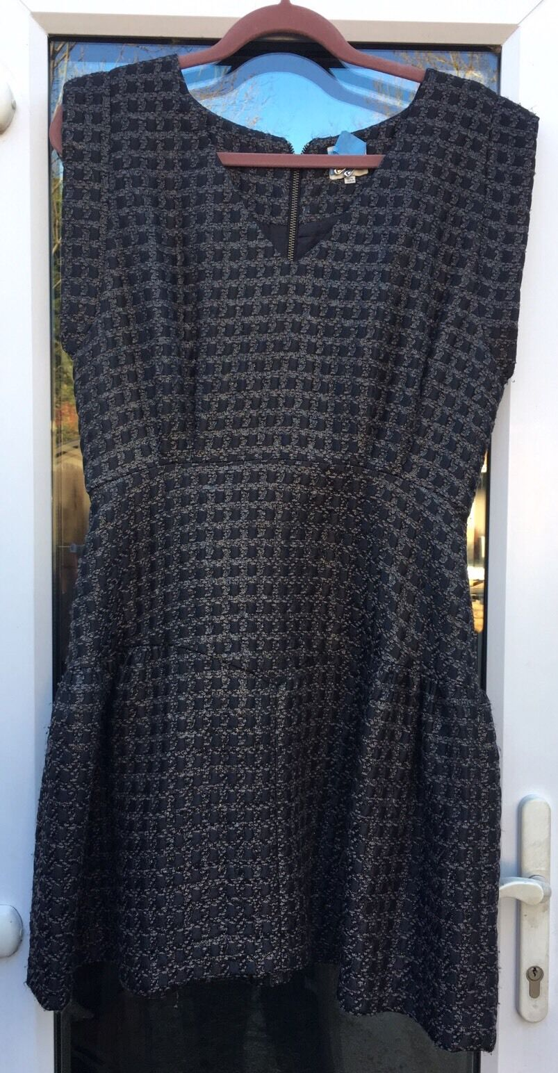 REISS breve Texture nero & oro DRESS PARTY NATALE US 10
