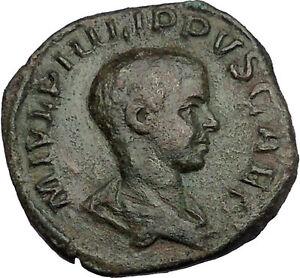 PHILIP-II-Roman-Caesar-with-globe-Sestertius-Big-Rare-Ancient-Roman-Coin-i51158