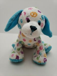 Ganz-Webkinz-Peace-PuppyTurquoise-Ears-Sparkles-Multi-color-peace-Signs-NO-Code