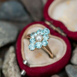 VINTAGE RING NATURAL SWISS TOPAZ AND PEARL RING, ENGAGEMENT/WEDDING RING FOR HER