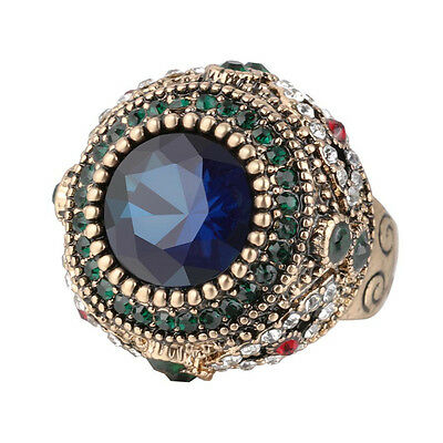 Turkish Style Gold-plated Green Crystal Sapphire Retro Alloy Female Ring 7#-10#