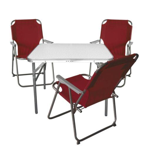 3x Campingstuhl rot Campingmöbel Balkonmöbel Bistro Set Sitzgruppe Klapptisch