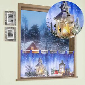 Scheibengardine Weihnachten m. LED Bistro Gardine Laterne Weihnachtsdeko Typ497