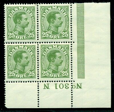 DENMARK #109 (143) 25ore Chr. X, Plate No. Block of 4, og, NH, VF