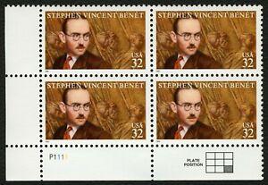 #3221 32c Stephen Vincent Benet, Placa Bloque [P1111 Ll ] Cualquier 5=