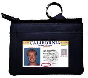 Black-Genuine-Leather-Men-039-s-Coin-Purse-Change-ID-Holder-Key-chain-Wallet