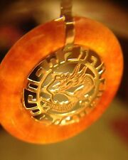 14k SOLID Gold RED CARNELIAN AGATE Dragon Motif Donut Pendant Asian Chinese RARE