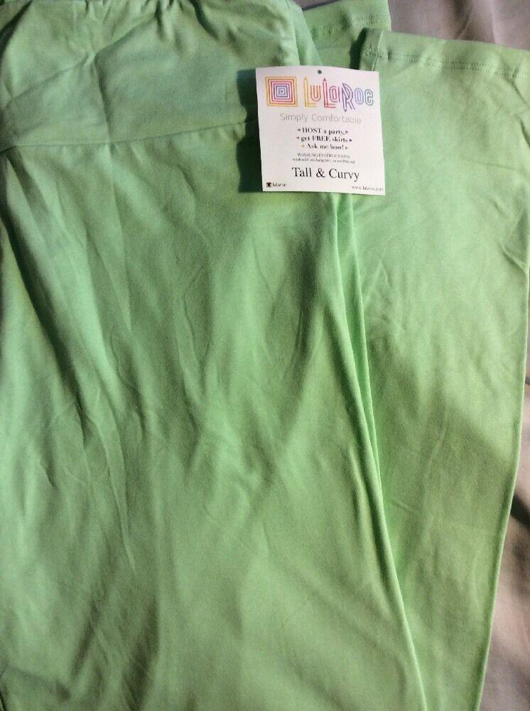 9918c259342d72 Lularoe TC Tall & Curvy Leggings Pants Unicorn Solid Light Green Mint New
