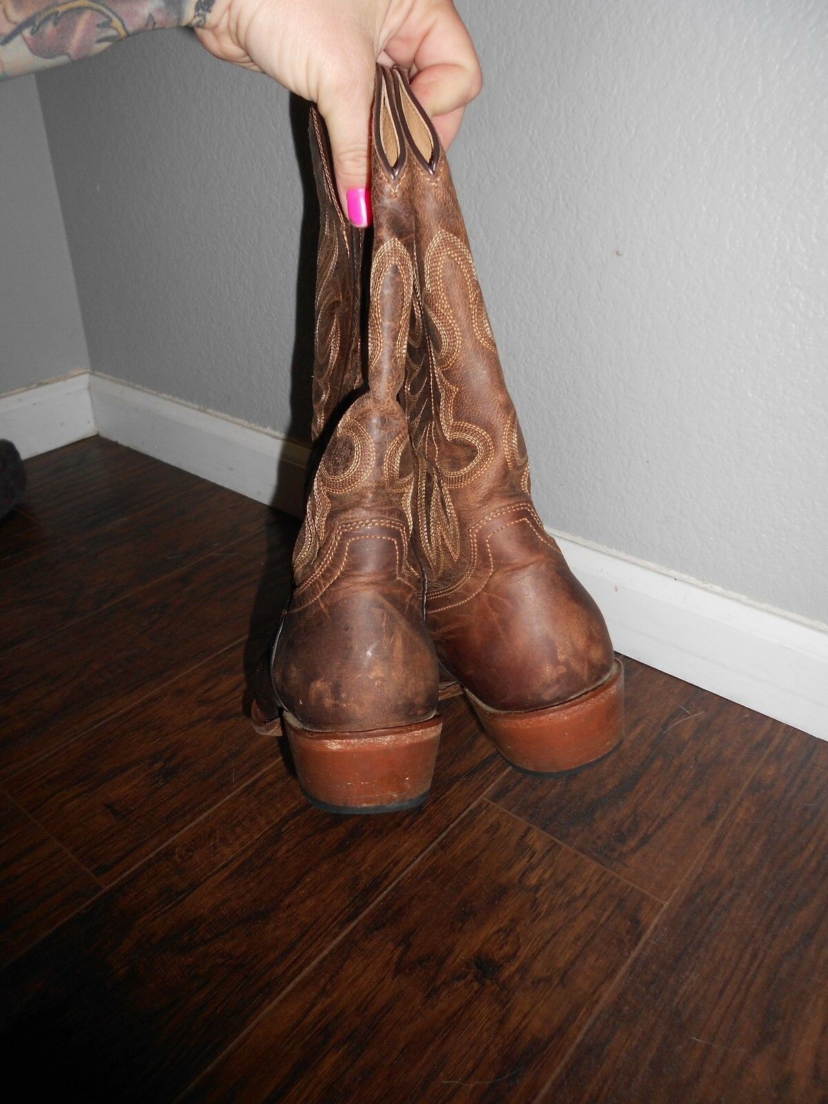 WOMENS SHYANNE   WESTERN LEATHER LEATHER LEATHER BOOTS  COWGIRL SNIP TOE SZ 9B ORG  249.99 020eb4