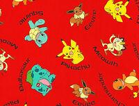 Red Pokemon 100% Cotton Fabric Pikachu Character Names Robert Kaufman Yardage