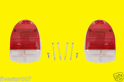 Left and Right 2 Rear Tail Light Lens Set RED for Volkswagen VW 1968-1970 Beetle