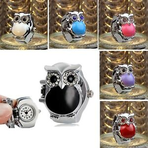 New-Creative-Retro-Owl-Finger-Watches-For-Women-Clamshell-Ring-Watch-Girl-039-s-Gift