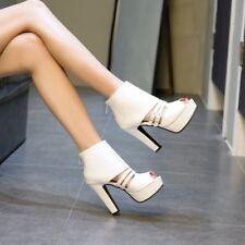 4d2c3dd941c item 6 Women s Peep Toe Block High Heels Ankle Boots Cut Out Sandals Buckle  Vogue Shoes -Women s Peep Toe Block High Heels Ankle Boots Cut Out Sandals  ...