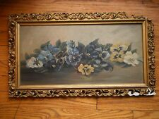 victorian oil painting pansies on board blue purple yellow white flowers floral