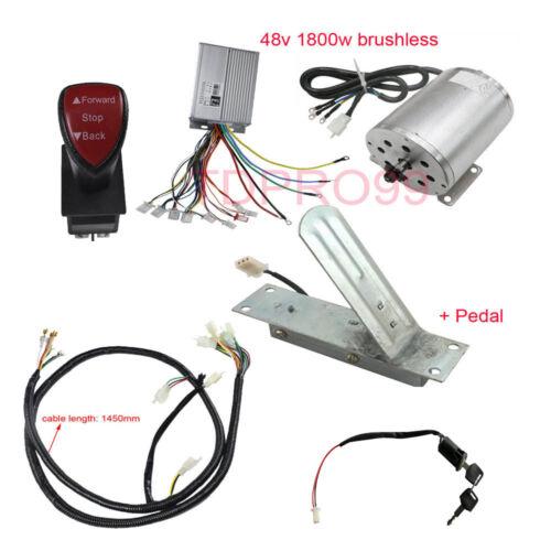 1800W 48V Brushless Motor Controller Throttle Pedal Reverse Switch Go Kart ATV